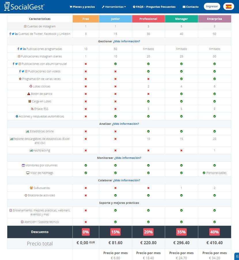 SocialGest - herramienta para programar publicaciones en Instagram y otras redes sociales