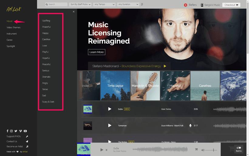 Artlist - música para vídeos de bodas. Canciones para videos de bodas